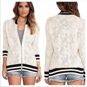 Free people lace oversized bomber jacket xs